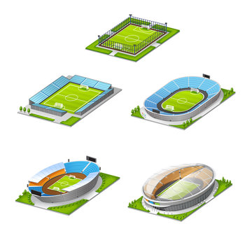 vector set of arena sports competition football stadium