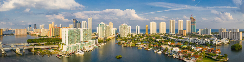 Wall Mural - Aerial drone panorama of Sunny Isles Beach coastal city