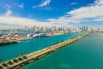 Port Miami and Macarthur Causeway Florida scenics