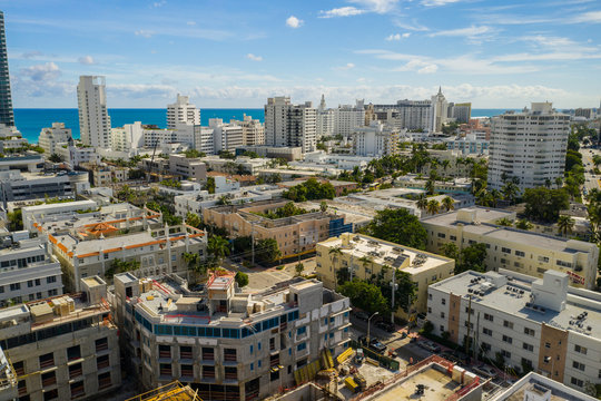Aerial Miami Beach residential apartments and beachfront condos