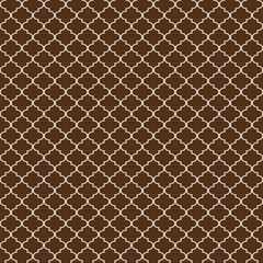 Quatrefoil Seamless Pattern - Graphic brown and white quatrefoil or trellis design