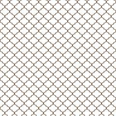 Quatrefoil Seamless Pattern - Minimalist brown and white quatrefoil or trellis design