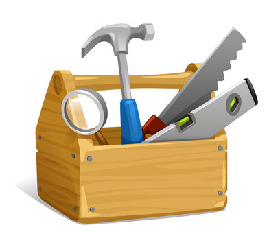 vector illustration of tool, hand tool, hammer with wooden handle, saw, hacksaw