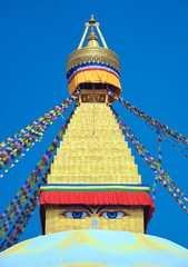 Stupa in Swayambhunath Monkey temple, Eyes of the Buddha, in Kathmandu, Nepal.