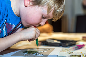 beautiful boy drawing using color blow pen at home