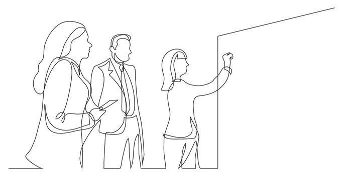 business team discussing whiteboard drawing during brainstorm session - one line drawing