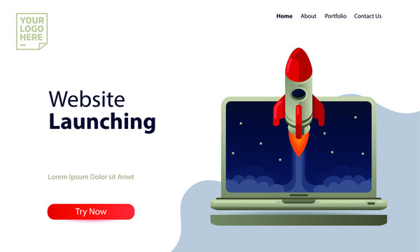 Landing page template website launching. rocket launch from a laptop flat style vector illustration