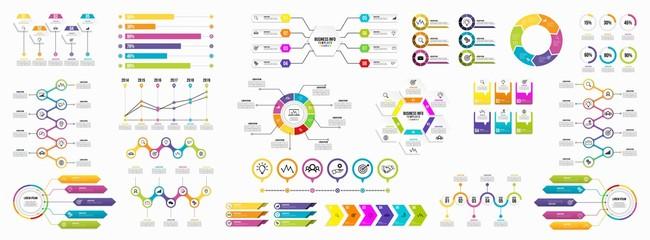 Set of Infographics Elements Data Visualization Template Design Vector Editable