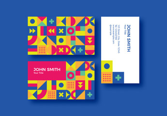Colorful Patterned Business Card Layout