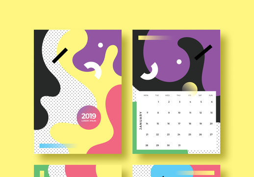 Colorful Shapes Calendar Layout