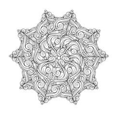 Vector abstract black and white ethnic mandala motif