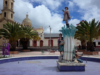 The main plaza of Aquitania in Boyaca, Colombia. The main plaza houses the church onion monument
