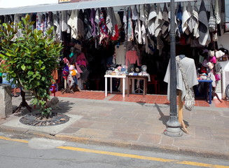 A shop in Nobsa sells its famous woolen handcrafts