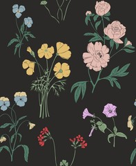 Meadow flowers on a black background. Seamless vector pattern.