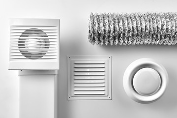 ventilation system components on white background top view