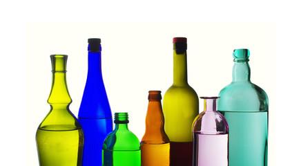 Wine bottles on white. Isolated on white