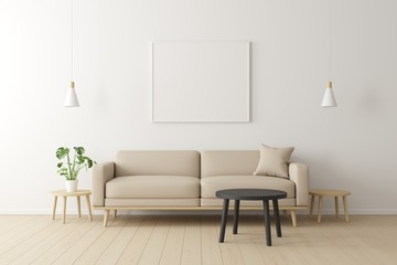 Minimal concept. interior of living beige fabric sofa, wooden table, ceiling lamp and frame on wooden floor and white wall.