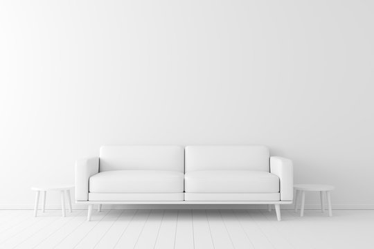 Minimal concept. interior of living white color on white floor and background.