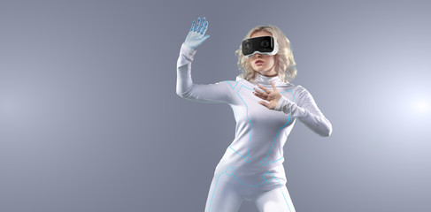 Futuristic girl working with virtual reality, media technologies for business