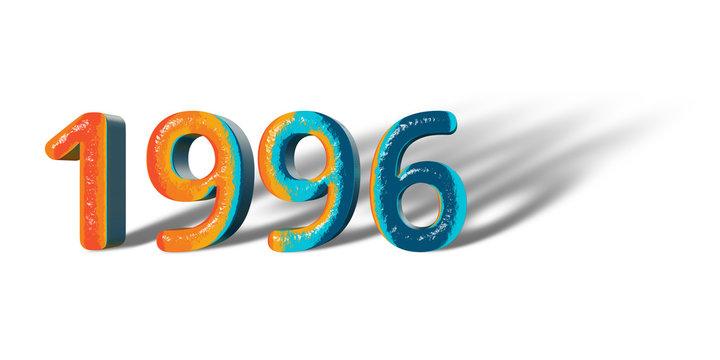 3D Number Year 1996 joyful hopeful colors and white background
