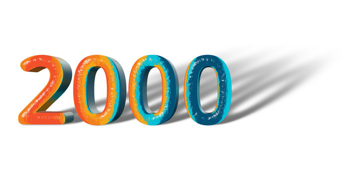 3D Number Year 2000 joyful hopeful colors and white background