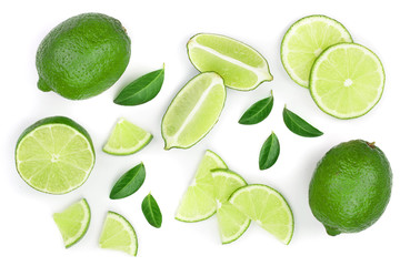 sliced lime with leaves isolated on white background. Top view. Flat lay pattern Wall mural