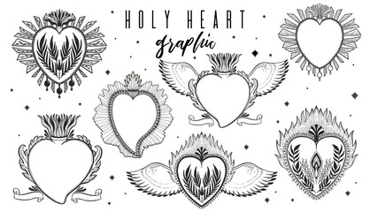 Sketch graphic illustration set Holy heart with mystic and occult hand drawn symbols. Vintage Hands with Old Fashion Tattoos.Freemasonry and secret societies emblems, esoteric symbol.