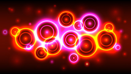 Neon party background, abstract multicolor background with bright circles