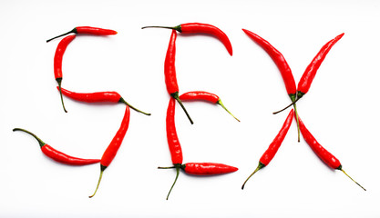 red chili peppers inscription sex. isolated on white background