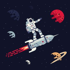 Astronaut in spacesuit riding  on rocket in space among planets and stars. Vector flat illustration.