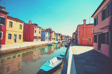 One of the streets of the island of Burano near Venice, Italy