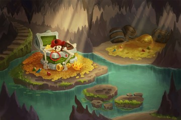 Pirate cave full of treasures. Skeleton guarding treasure chest. Colorful cartoon style image. Game design background