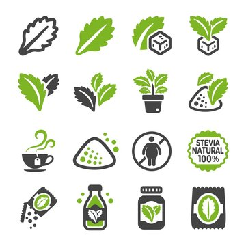 stevia icon set,vector and illustration