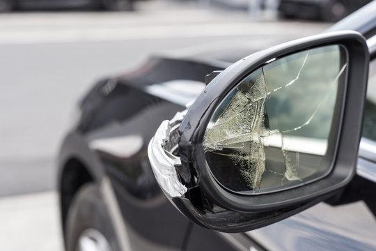 Broken mirrors of a car
