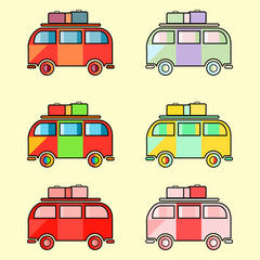 Icons of vintage hippie van