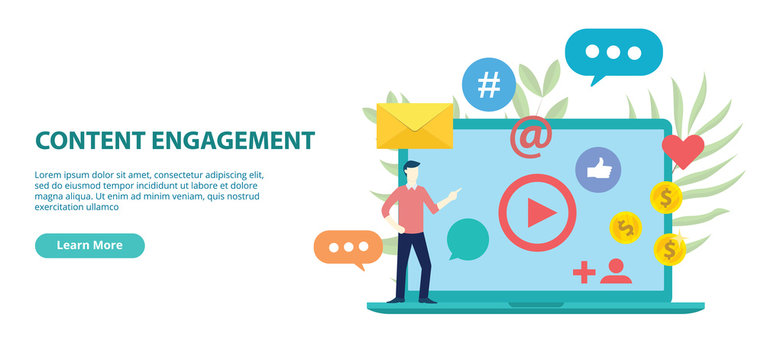 content engagement website design template banner with flat style