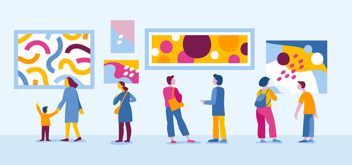Vector illustration in flat simple style with characters - people visiting modern art gallery
