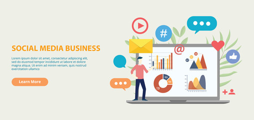 social media business icon website template banner with graph and chart analytical growth