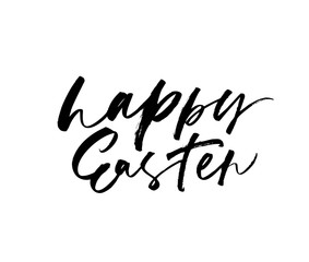 Happy Easter phrase. Hand drawn brush style modern calligraphy.