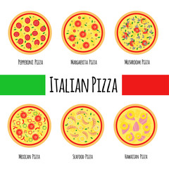 Pizza menu including popular pizza: Seafood, Mexican, Hawaiian,