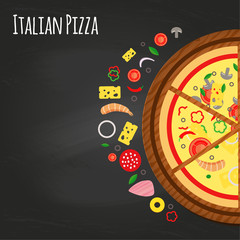 Pizza pieces on the board with ingredients
