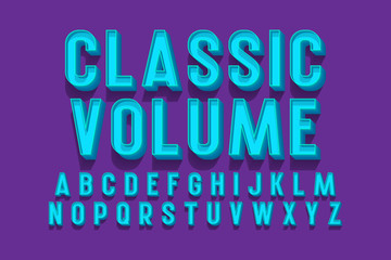 Classic volume isolated english alphabet. 3d letters retro font.