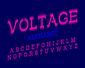 Voltage alphabet. Pink electric urban font. Isolated english alphabet.