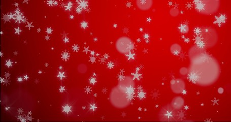 Christmas red background with snowflakes - falling snow