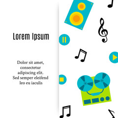Music icons with place for text in flat style. Vector illustration. Template bor banners, invitations, cards.