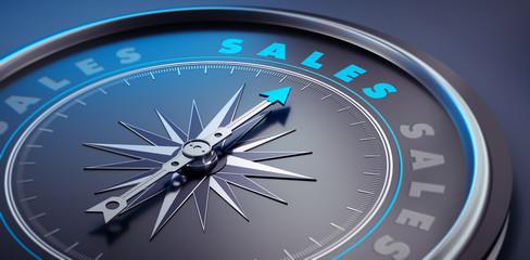 Dunkler Kompass - Konzept Sales