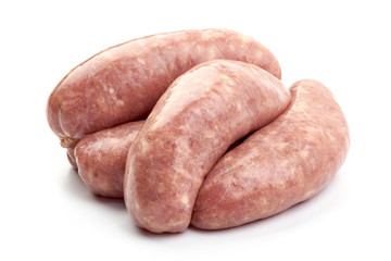 Raw Munich Sausages, close-up, isolated on a white background