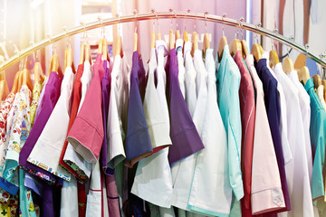 Medical gowns for nurses on hanger