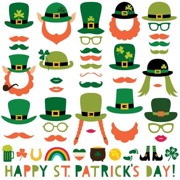 St. Patricks Day party props (hats, lips, mustaches)