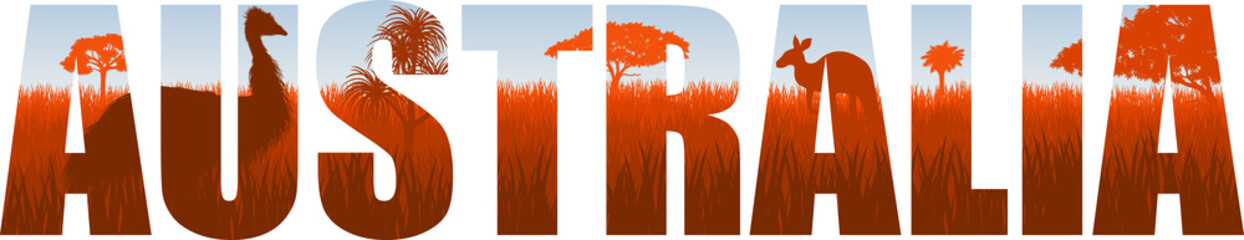 Fototapeta vector Australia illustration with ostrich Emu and kangaroo obraz